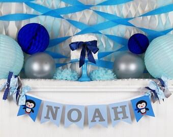 Elegant PENGUIN BIRTHDAY BANNER / Winter Onederland Birthday Banner / Penguin Baby  Shower / 1st Birthday Boy. 1st Birthday Banner. Winter Wonderland