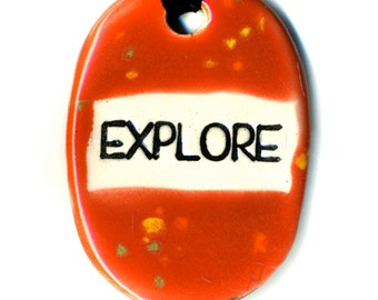 Explore  Ceramic Necklace in Speckled Red