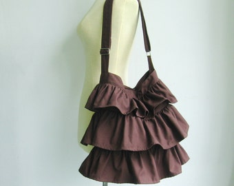 Sale - Chocolate Cotton Twill Ruffle Purse, messenger bag, shoulder bag, tote, diaper bag