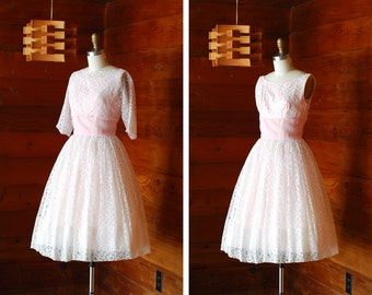 vintage 1950s dress / 50s white lace full skirt dress / size xs extra small