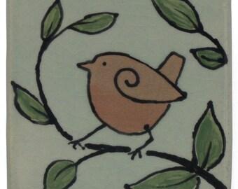 Oiseau, 3 x 3 pouces Glazedl carreau de céramique, décoration, Nature inspiré, fait main, unique en son genre