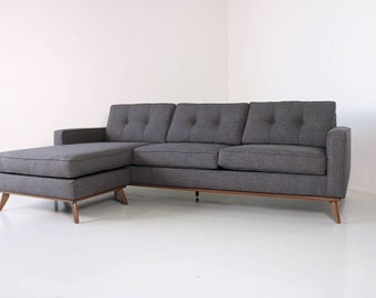 Mid Century Modern Danish Sofa Sectional Chaise, reversible to both sides