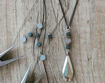 Drop necklace, geometric necklace, silver drop pendant, origami pendant, long necklace, urban jewelry, Minimalist jewelry, modern necklace