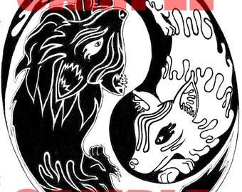 print of hand drawn pattern, yin yan, pokemon
