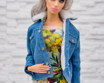 ELENPRIV jeans oversize jacket with hand embroidery and full lining for Sybarite on Gen X body dolls and similar body size dolls