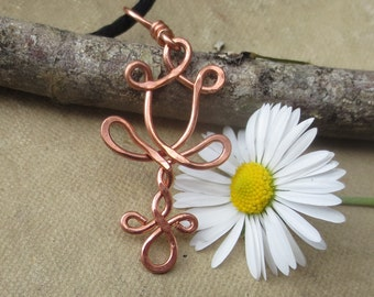 Copper Daffodil Necklace, Daffodil Pendant, Daffodil Jewelry, Copper Wire Flower Jewelry, Copper Flower Pendant, Women, Gifts for Girls