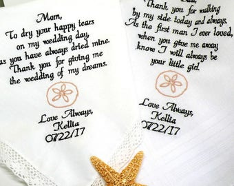 Wedding Gift for Mom and Dad So Many Designs to Pick from All done in your wedding Colors Embroidered Wedding Hankerchief Canyon Embroidery