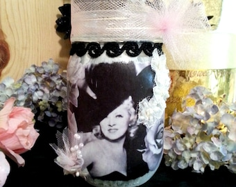 Mae West Decoupage Mason Jar, Shabby Chic Decor, Distressed Paint Jar, Vintage Hollywood Glam, Gift Idea for Woman, Gift Under 20