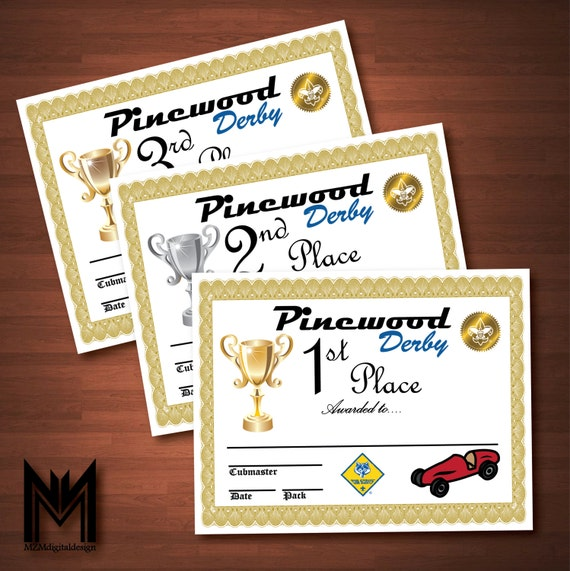Printable Pinewood Derby Certificates WeighIn Sign Bsa