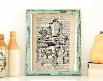 Dictionary Art, Antique Vanity, Printable Art, Country Home Decor, Rustic Wall Art, Retro Style Art, Instant Download, Antique Style Art