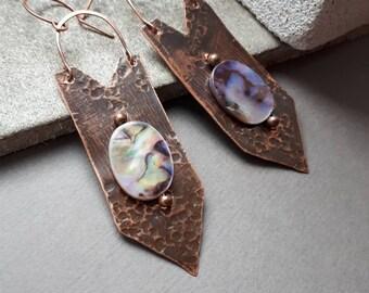 Mysterious Wire Wrapped Minimal earrings Copper Statement Earrings  Geometrical Earrings Moth Wings - Bohemian Earrings Rustic copper pearl