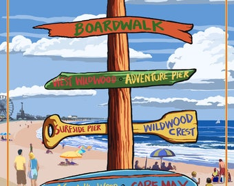 Wildwood, New Jersey - Destinations Sign - Lantern Press Artwork (Art Print - Multiple Sizes Available)