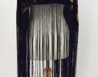 Vintage evening cape fringed devoré black burn out velvet jazz age flapper 1920s roaring twenties costume party fancy dress one size 0000
