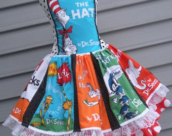 Made to Order Custom Boutique Seuss Book Covers Dress Available Girl Sizes  4 5 6 7 or 8