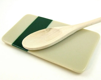 Khaki and Green Fused Spoon Rest - Tan and Emerald Rectangle Spoon Rest with a Matte Finish - Handmade  Tan and Green Glass Butter Dish