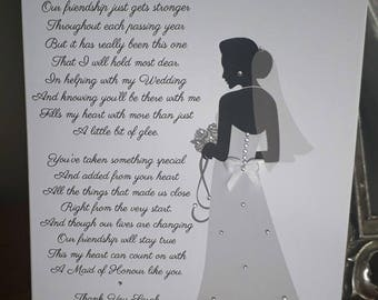 Handmade Personalised A5 Wedding Card To a Maid of Honour, Bridesmaid etc