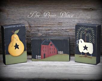 Primitive Shelf Sitter Blocks ~ Primitive Home Decor ~ Primitive Decor ~ Primitive Sheep ~ Saltbox House ~ Primitive Pear ~ Willow Tree