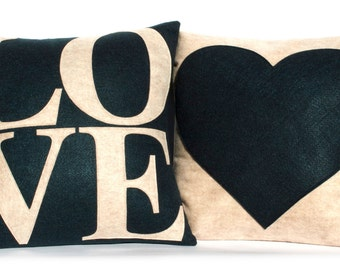 LOVE and Heart Coordinating Throw Pillow Covers Appliquéd in Sandstone and Navy Eco-Felt 18 inches