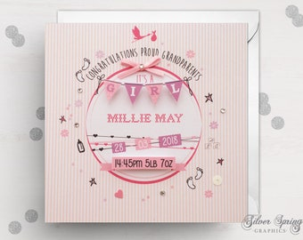 Grandparents Baby Girl Card