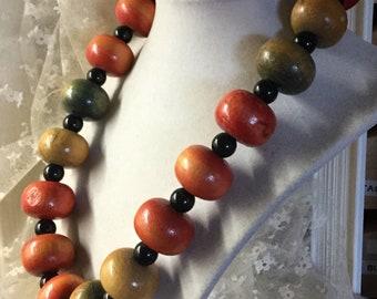 Erde großen Tönen gefärbt Holz Rondelle Perlenkette unsigniert 1970 1980 klobige große Fett Boho böhmischen Stil Feminine Frau Tag Freizeitkleidung