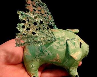 Pig Doll-Art Doll-When Pigs Fly-Grinlett (Taking Orders for Similar Pig)