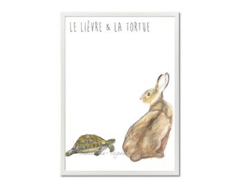 Frame the tortoise and the Hare - watercolor Illustration