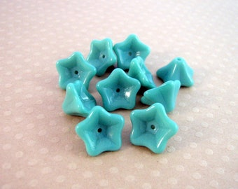 Set of 10 flowers trumpets 8 x 13 mm Turquoise - VPFL813-0133
