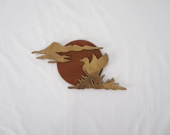 Vintage Brass and Wood Duck Silhouette Wall Art
