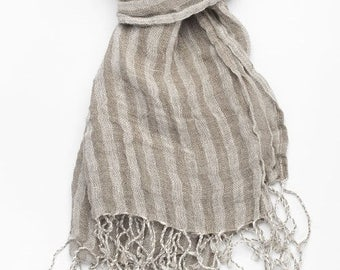 Linen Scarf, Eco Scarf, Natural Scarf, Grey Scarf