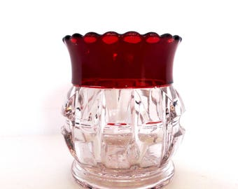 EAPG Thompson Glass Ruby Stained Truncated Cube Toothpick Holder circa 1892