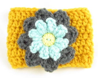 Crochet Coffee Cup Sleeve - Dark Gray and Light Teal Flower on Bright Gold