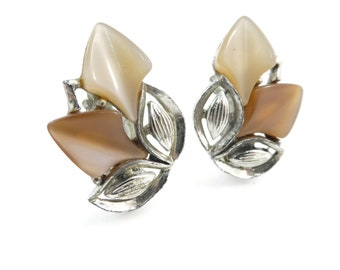 Vintage, Thermoset Earrings, Browns, Silver Tone, Clip Ons