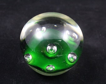 Green Paperweight / Green Glass Paperweight / Green Bubble Paperweight