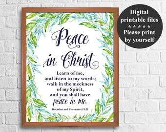 LDS Young Women Mutual Theme 2018 , Peace in Christ, D&C 19:23, 8x10'' + 16x20'' Signs, Mormon printables, 2018 mutual theme printable