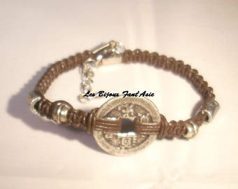 Chinese coin bracelet brown leather macrame and metal Tibetan beads