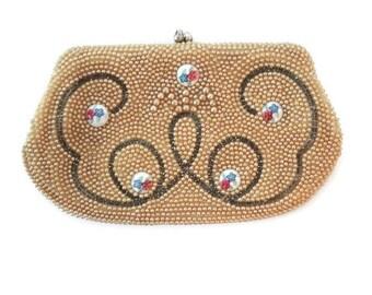 beautiful beaded handbag - vintage handbag - unique handbags  - beaded purse - beaded clutch - beaded clutch purse