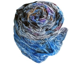 Blue scarf, blue velvet scarf, womens holiday scarf, winter holiday scarf, velvet scarf, soft blue scarf, gray, brown, purple, gift for her