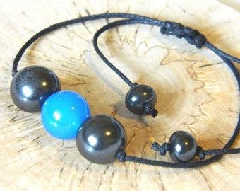 Shungite & Blue agate bracelet, beaded bracelet