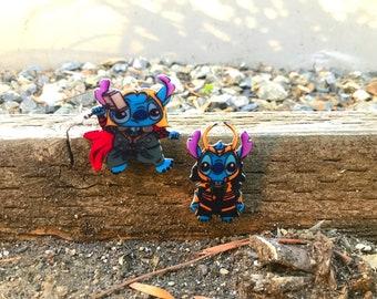Handmade shrink plastic Stitch character pins