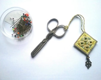 Hand embroidered and beaded scissor keeper
