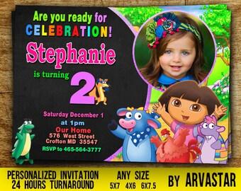 Dora Birthday Invitation,Dora Invitation, Dora Birthday Party,Dora the Explorer Birthday,Dora Birthday Party,Invitation with photo