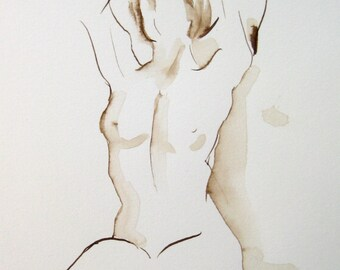 Original Nude Line Art Drawing, Female Torso, Thea Reaching, Sepia Ink on Paper, Original Under 100, Pen and Ink Art, Michelle Paine