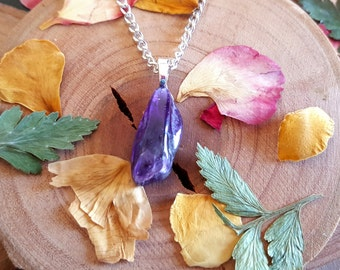 Raw Amethyst Shard Necklace - Amethyst Charm - Metaphysical - Healing Crystal -  February - Birthstone Jewelry - Crystal Necklace