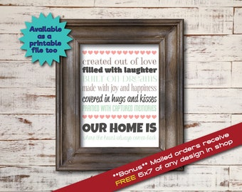 Our Home / Word Art Typography / Wall Art / Home Decor / Unique Gift / Love Laughter Dreams Joy Happiness Hugs Kisses Memories Heart