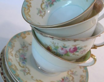 Vintage Mismatched China Cups & Saucers for Tea Party, Bridal Luncheons, Showers, Hostess Gift, Bridesmaid Gift - Set of 4
