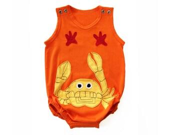 Baby Onesie, Boy Onesie, Unisex Onesie, Baby Clothing, Applique Clothing, Orange Onesie, Crab Clothing, Crab Onesie, Infant Clothing
