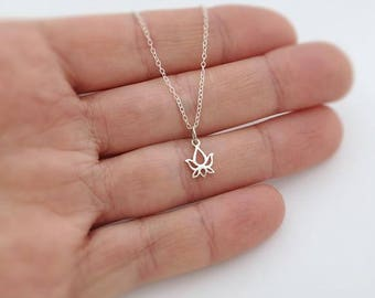 sterling silver small lotus necklace