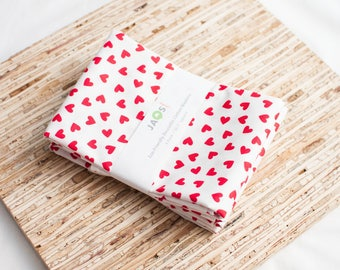 Large Cloth Napkins - Set of 4 - (N5869) - Red Little Hearts Modern Reusable Fabric Napkins