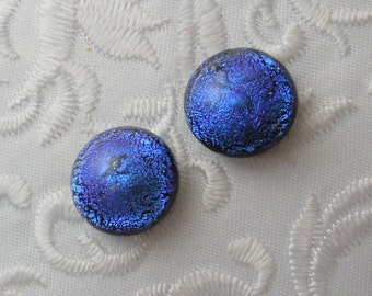 "3/8"" Blue Earrings - Dichroic Earrings - Stud Earrings - Post Earrings - Fused Glass - Glass Earrings - Small Post X1162"