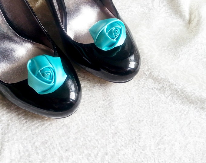 Handmade rose satin shoes clips in mint turquoise wedding prom